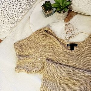 Gorgeous Gold Knit Sequined Sweater